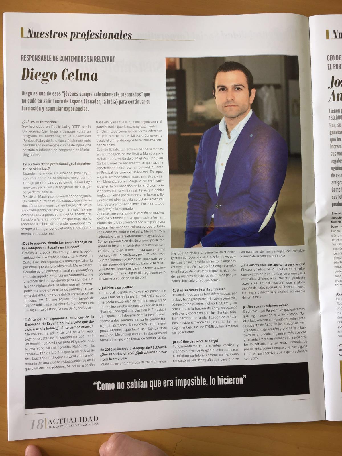 Entrevista Para La Revista Actualidad En Las Empresas Aragonesas